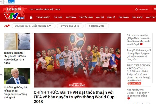 VTV wins World Cup 2018 broadcast right, Sports news, football, Vietnam sports, vietnamnet bridge, english news, Vietnam news, news Vietnam, vietnamnet news, Vietnam net news, Vietnam latest news, vn news, Vietnam breaking news
