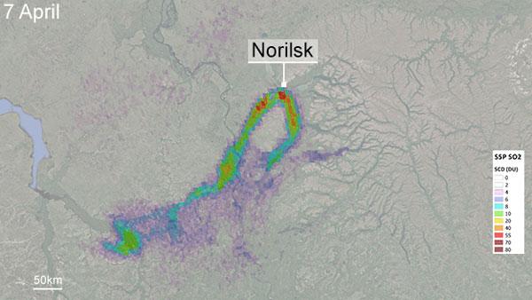 Sentinel satellite, sulphur dioxide pollution