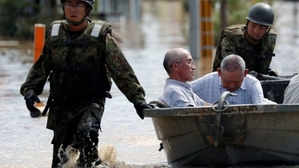 Western Japan, record rainfall, deadly floods and landslides