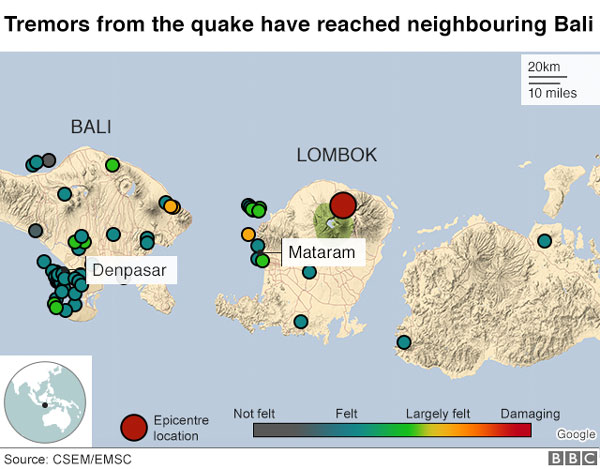 Indonesia, Lombok earthquake, landslides