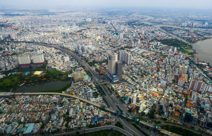 Sai Gon bridge and Thao Dien residential area in the east of the city.