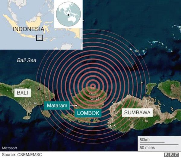 Indonesian island of Lombok, earthquake