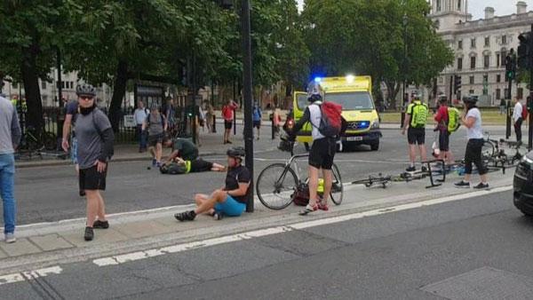 Westminster car crash: Man arrested on suspicion of terror offences
