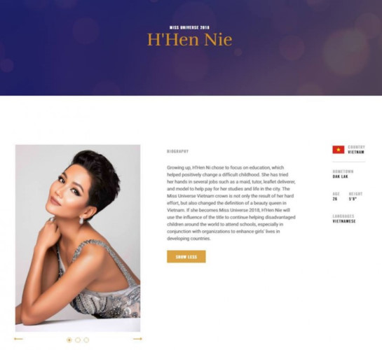 Vietnam's H'Hen Nie makes appearance on Miss Universe 2018 website, entertainment events, entertainment news, entertainment activities, what's on, Vietnam culture, Vietnam tradition, vn news, Vietnam beauty, news Vietnam, Vietnam news, Vietnam net news, v