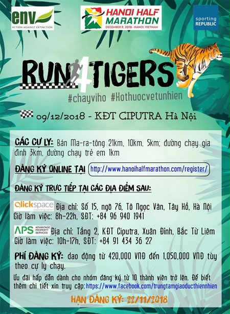 Run for tigers to take place in Hanoi