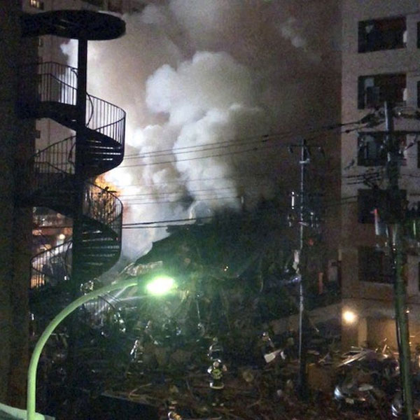 Japan explosion, huge explosion and fire, Sapporo restaurant blast